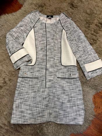 Abrigo tejido negro/blanco