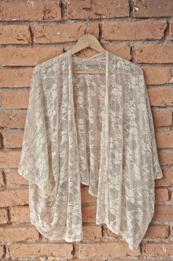 Kimono de encaje transparente
