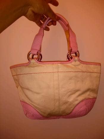 Bolsa coach rosa y blanco
