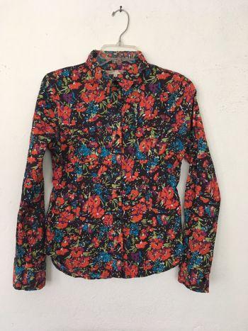 Blusa camisa multicolor de cuello