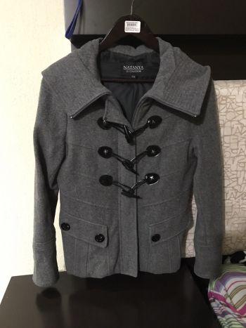 Abrigo lana gris con gorro