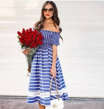 Vestido azul rayas Storets