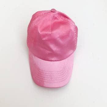 Gorra de satín rosa pastel