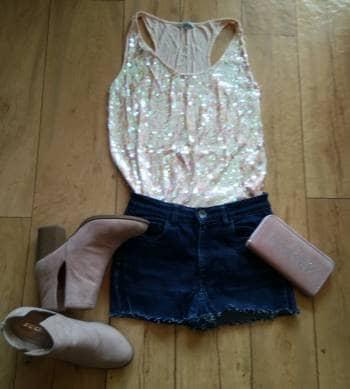 Pack short mezclilla con camiseta rosa bb