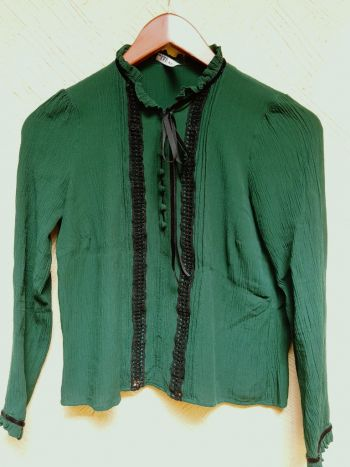 Blusa con lazo liston moño terciopelo verde