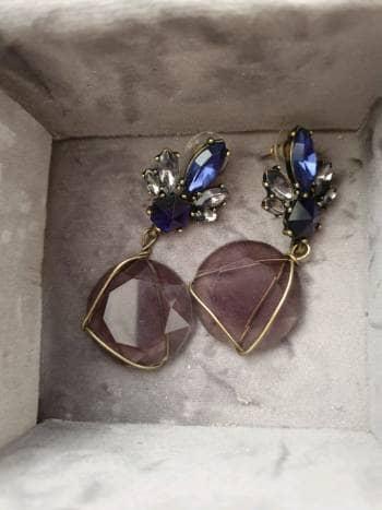 Aretes cristal azul