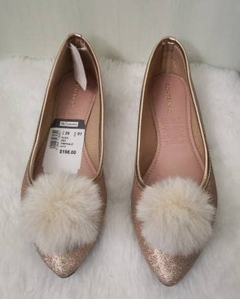 Flats balerinas rosa glitter pompon