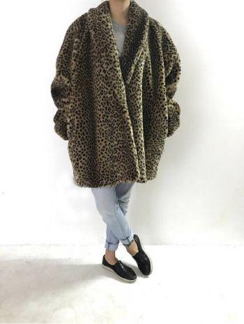 Abrigo de peluche print leopardo