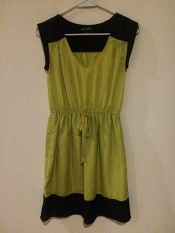 Vestido verde limon con negro