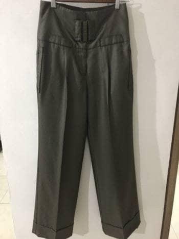 Pantalon formal de tiro alto verde