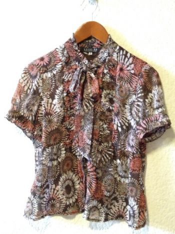 Camisa floreada cafe & naranja