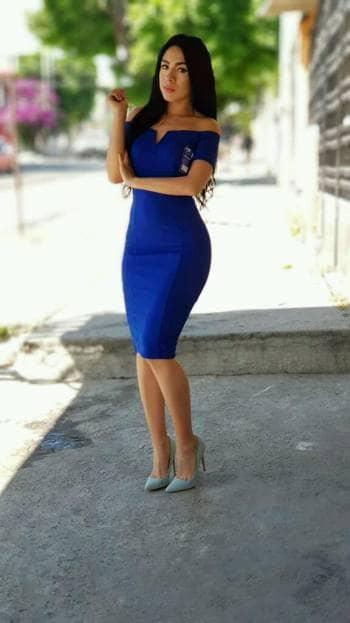 efef3ee5b Vestido corte lapiz azul rey - GoTrendier - 807838