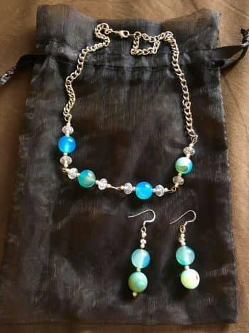el más nuevo 52141 ad027 Collar y aretes azul turquesa - GoTrendier - 420099